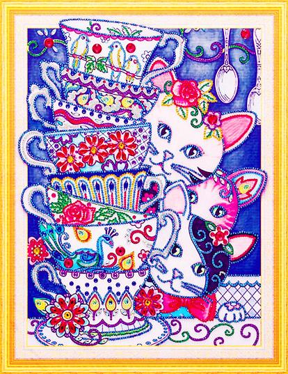 Алмазная мозаика 5D 40x50 Трое котят выглядывают из-за расписной чашки