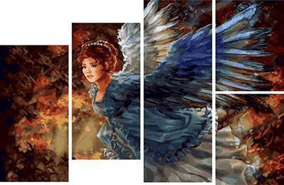 Модульное рисование по номерам Синекрылый ангел